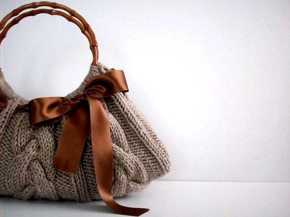 Knit Handbag NzLbags tote Handmade - Handbag - Shoulder Bag, Everyday Bag, Beige brown bow, fall autumn fashion, christmas gift idea