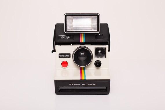 Vintage Polaroid Rainbow Stripe White OneStep w/Black Q-Light Flash