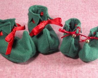 SALE-PDF ePattern --Elf  Booties for Babies and Dolls, Baby Booties, Christmas booties, Christmas Photo Prop