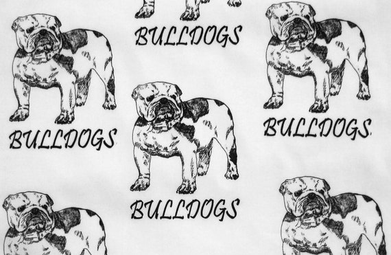 1 yard English Bulldogs with Lettering Hot Diggity Dog Fabrics Novelty Fabric