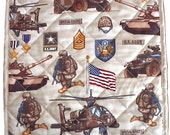 US Army Hot Pad, military handmade trivet quilted, 12 x 12