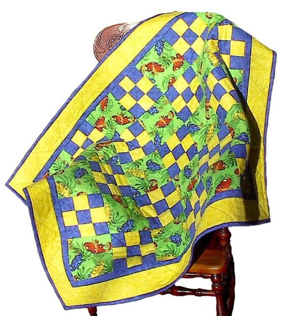Chameleon Rain Forest Flannel Baby Quilt, handmade OOAK infant blanket lizard nursery crib, 38 x 50