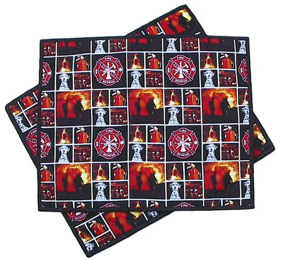 Firefighter Placemats pair, handmade firehouse quilted, 14 x 17