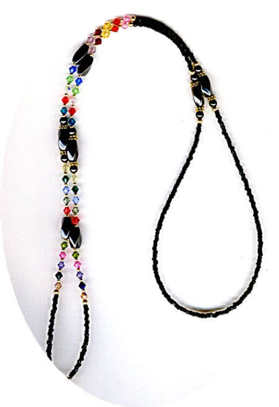 Swarovski Crystal and Magnetic Hematite Eyeglass Chain or ID Badge Lanyard