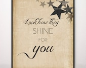 11x14 Look How They Shine For You Art Print Coldplay Yellow Look At The Stars
