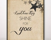 16x20 Look How They Shine For You Art Print Coldplay Yellow Look At The Stars