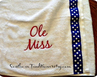 Personalized Spa Wrap Bath Towel in your choice of color towel font and ribbon Collegiate colors too