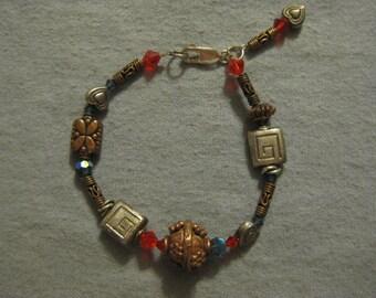 Sterling Silver and Brass Beaded Bracelet