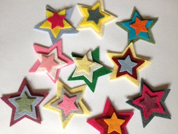 "Wool Felt Stars  total 30 - Sizes 1 - 2"" Random Colored 1300"