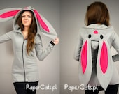 Bunny Rabbit Hoodie ears Kawaii very long cotton grey