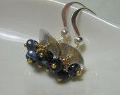 sapphire earrings sterling silver vermeil gold navy wire wrap dangle gemstone luxurious simple petite delicate dainty jewelry