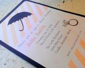 Peach Umbrella shower / birthday party invitations