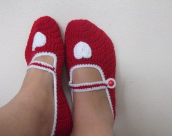 Red  Mary Jane slippers-Crochet Slippers-Adult size-St. Valentine's day