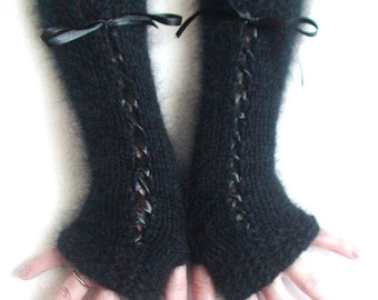 Fingerless Gloves Black Arm Warmers with Angora Wool Christmas fashion
