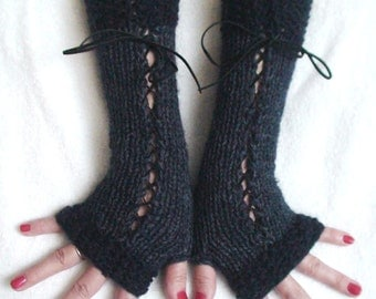 Fingerless Gloves Corset Long Arm Warmers Handknit in Blue Tones Victorian Style