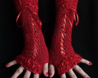 Fingerless Gloves Luxury  Red Silky Mohair Corset Arm Warmers with Satin Ribbons  Victorian Style