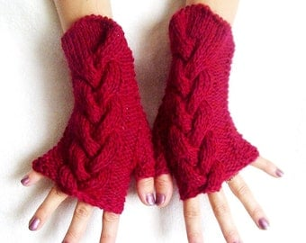 Red Fingerless Gloves Cabled Wrist Warmers Warm and Soft