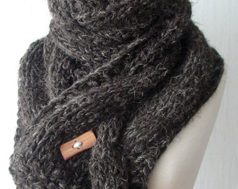 Chunky Scarf Handknit Big Cowl Extra Thick Cabled Soft  in Dark Brown