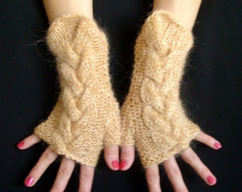 Fingerless Gloves Tweed Cabled  Wrist Warmers in Light Brown