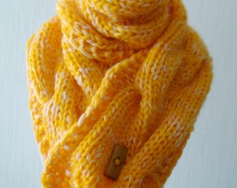 Chunky Scarf Knit Warm Cowl Autumn Winter Cabled in Yellow