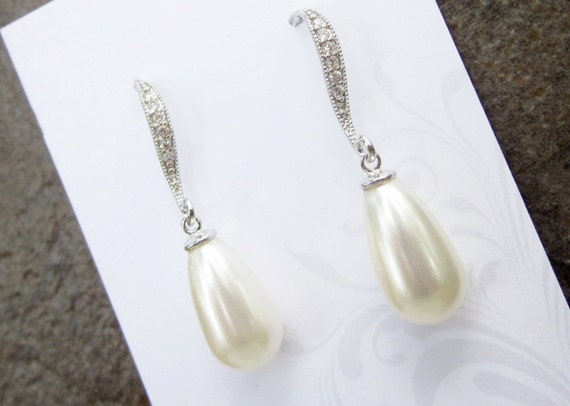 Wedding earrings, pearl drop bridal jewelry, vintage - 'Paige'