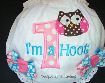 GIRLS 1ST BIRTHDAY Diaper Cover Bloomers - Owl Birthday -Appliqued One with Owl in Bubblegum Pink and Blue
