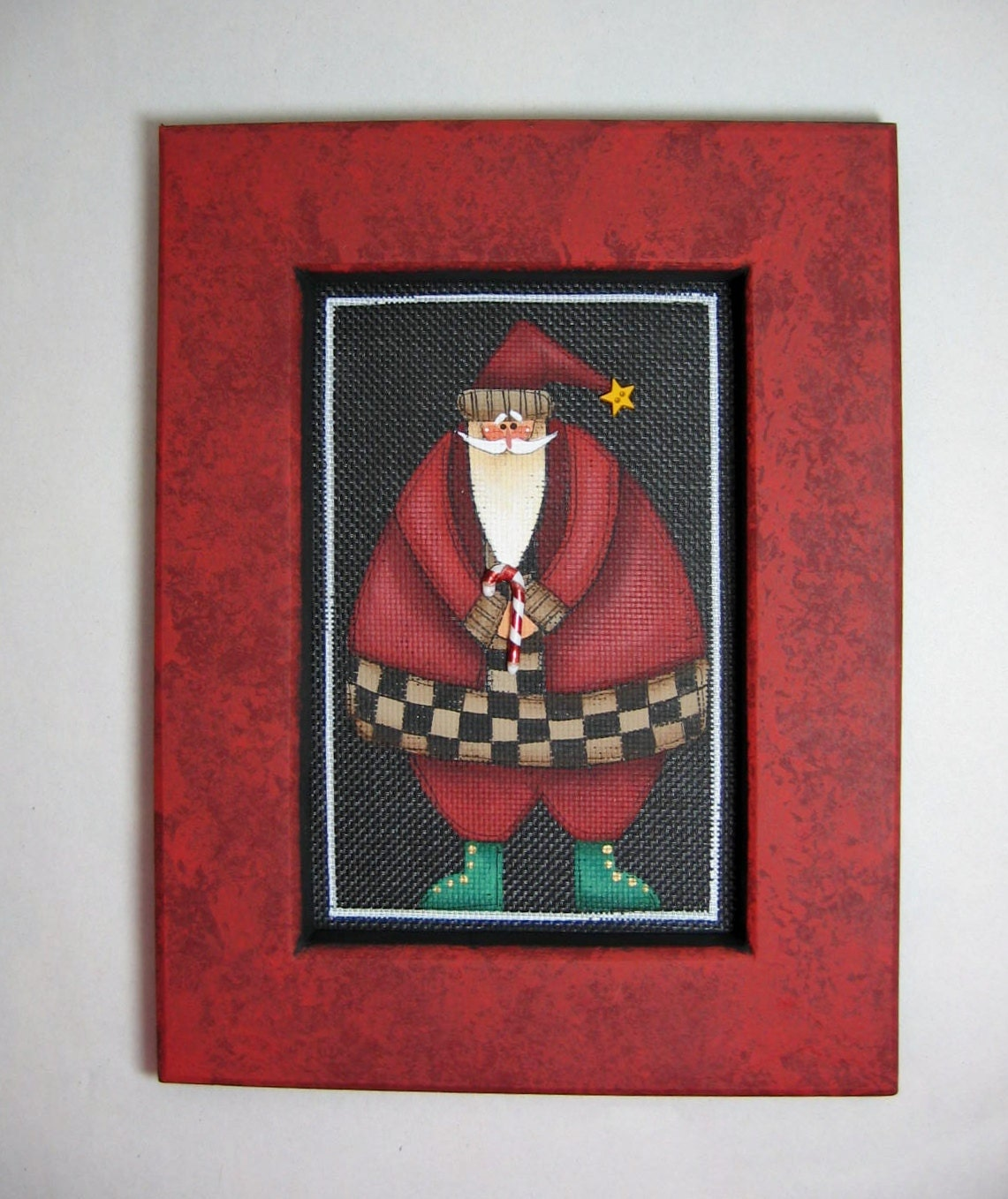 Folk Art Santa Claus With A Candy Cane Tole Painted And