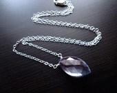 Quartz Necklace, Blue Mystic Quartz, Marquis Pendant, Sterling Silver