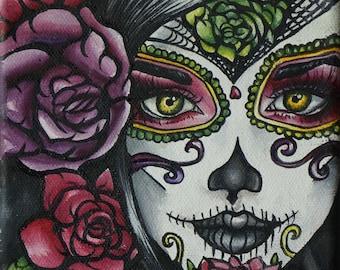 Carolina -STRETCHED CANVAS PRINT Day of the Dead  Art Rockabilly Pin Up girl Hair Dia De Los Muertos  Lowbrow Tattoo art