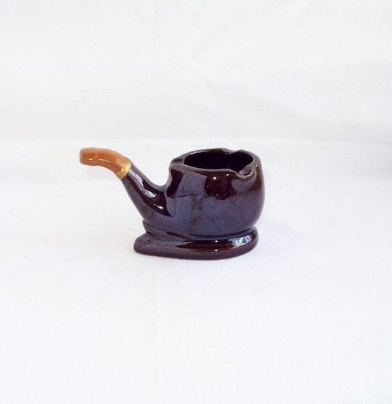 Vintage Pipe Ashtray Ceramic Brown Ash Tray Japan 1960s 60s