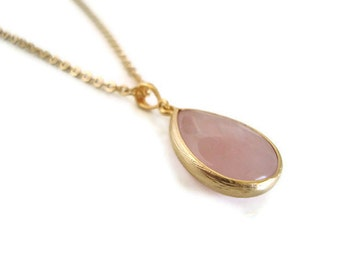 Rose Quartz Necklace, Rose Quartz Faceted Teardrop Pendant Necklace with Gold Filled Chain - Also Available in Silver, Wedding Jewelry