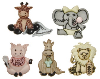 Jesse James Button Dress It Up Cute and Cuddley Baby Animal Buttons Pig Lion Elephant Giraffe