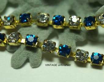 Vintage Swarovski 3mm Sapphire and Crystal  Rhinestone Chain (1) Foot