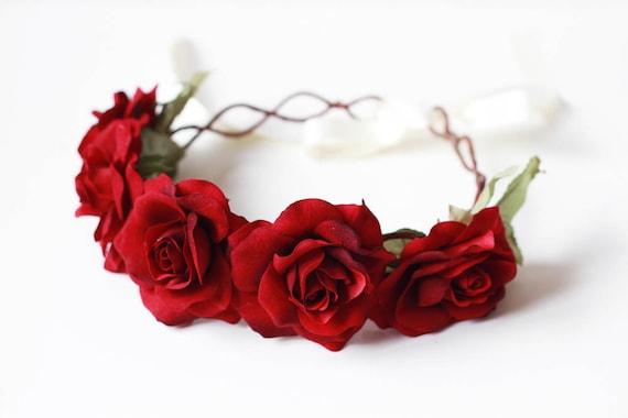 RESERVED - red rose crown // valentines romantic wedding headpiece, bridal hair wreath, flower crown, love, oversized statement headband