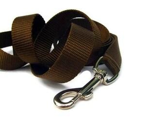 Chocolate Brown Nylon Dog Leash