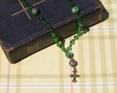 SALE Anglican Rosary Green Flower