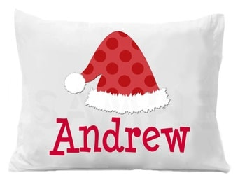 Santa's Hat Personalized Pillow Case, Christmas Pillow Case Boys or Girls
