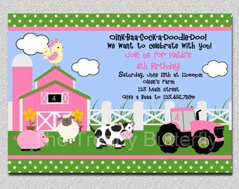 Farm Birthday Invitation Farm Animals Birthday Party Invitation Pink and Green Printable Invitation