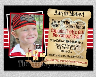 Boys Photo Pirate Birthday Invitation,  Pirate Invitation,  Pirate Birthday Party Invitation, Pirate Birthday Party, Boys Birthday Invite