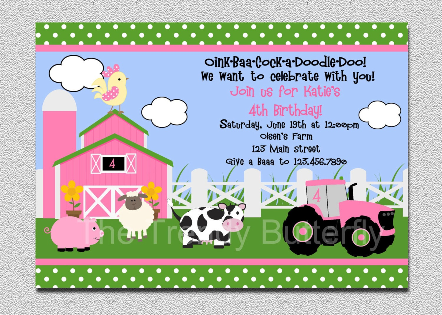 Farm Birthday Invitation Farm Animals Birthday Party