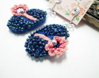 Crochet Lace Jewelry (Sakura) Fiber Jewelry, Crochet Earrings, Clip Earrings