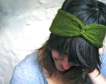 Knit Headband Turban - Cinched Headwrap - Olive Green
