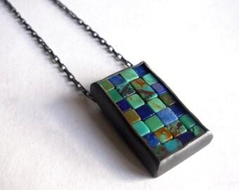 Mosaic Necklace - Lapis Lazuli Turquoise Silver Necklace - Mosaic Pendant - Rectangular Pendant - Blue Silver Pendant - Blue Mosaic Jewelry