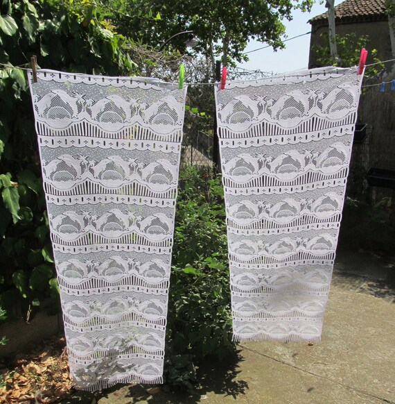 vintage french lace curtains, cafe curtains, panels, net curtains