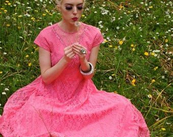 Karolina, French Vintage Hot Pink 1950s Antique Lace Maxi Dress from Paris