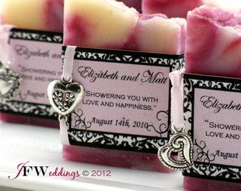 25 Vegan SOAP Favors ~ Bridal ~ Wedding ~ Elegant Damask Labels or Custom Designs ~ Handmade in 7 days