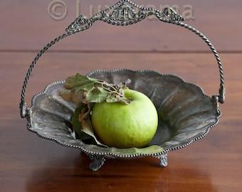 silver plated dish  silver handled basket center piece bowl fruit holder