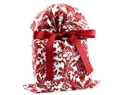 ON SALE  Cranberry & White Damask Cloth Gift Bag for Christmas
