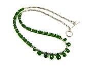 Emerald Green Chrome Diopside Sterling & Argentium Silver Statement Necklace - Fine Jewelry - N147