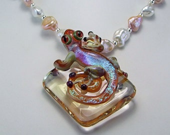 Borosilicate Glass OOAK Gecko Statement Necklace - N376
